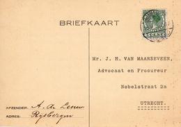 1930  Bk Naar Utrecht Met Langebalk RIJSBERGEN (NOORD-BRAB.) - Marcophilie