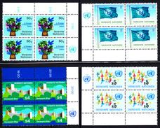 United Nations Vienna MNH 1979 Scott #1-#6 Complete Year In Corner Blocks Of 4 - Centre International De Vienne