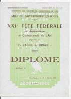 Diplome Gymnastique Ville De Saint Rambert En Bugey 1955 - Diploma & School Reports