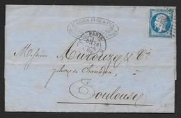 PARIS - Losange H  Sur N° 14  Et  Cachet   H PARIS  H - Postmark Collection (Covers)
