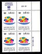 United Nations Vienna MNH 1985 Scott #50 4.50s Ship Of Peace Upper Right Corner Block - Centre International De Vienne