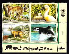 United Nations Vienna MNH 2000 Scott #272a Block Of 4 Endangered Species: Leopard, White Spoonbill, Huemal, Orca - Centre International De Vienne