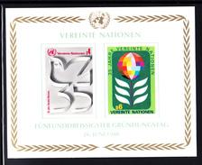 United Nations Vienna MNH 1980 Scott #14 Souvenir Sheet Of 2 35th Anniversary UN - Centre International De Vienne