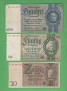 War Currency 20 + 50 + 100 Reich Marks 1929 1933 1935 - [ 4] 1933-1945 : Third Reich