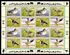 United Nations Vienna MNH 2003 Scott #332a Minisheet Of 4 Blocks Of 4 Endangered Species: Birds - Centre International De Vienne