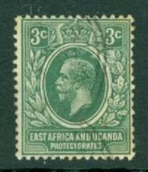 East Africa & Uganda Protectorates: 1912/21   KGV    SG45   3c   Green   Used - Kenya, Uganda & Tanganyika