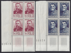 FR - 1949 - N° 846 Et 847 En Blocs De Quatre Avec Coins Numérotés - Neufs - XX - MNH - TB - - France