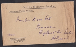 UK: Official Cover To Netherlands, 1918, OHMS, Returned Postal Packet, RLB 3, Post Office Liverpool (damaged, See Scan) - 1902-1951 (Rois)