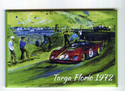 X MAGNETE CALAMITA FRIGO MOTORSPORT TARGA FLORIO 1972 FERRARI 312 ARTURO MERZARIO CM. 5,5X8 - Sports