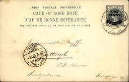 GRANDE BRETAGNE / CAP DE BONNE ESPÉRANCE - Entier Postal Surchargé Pour La Suisse En 1899 - A Voir - L 6186 - África Del Sur (...-1961)