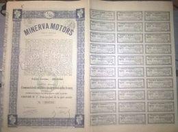 CARS, MINERVA MOTORS COMPANY SHARE, VOUCHERS, 1929, BELGIUM - Automobile