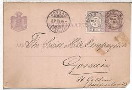 HOLANDA ENTERO POSTAL AMSTERDAM 1884 A GOSSAU ST GALLEN - Lettres & Documents