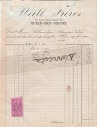 Facture 1904 WEILL Frères / SAINT DIE Des Vosges 88 / RARE Vignette Colis Postal Assuré à La  Mutuelle Assurance Du Mans - Titres De Transport