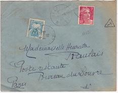 17128# GANDON LETTRE TAXE POSTE RESTANTE Obl LEROUVILLE MEUSE 1946 PARIS - Postmark Collection (Covers)