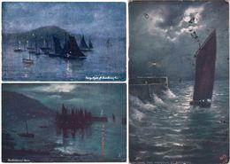 LOT 3 CPA Illustrées Marine, Navires. Illustrated Postcards, Tuck Oilette, Night Views, Boats, Sea. Frank Lewis Emanuel. - 1900-1949
