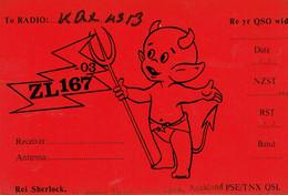 Devil Diable Duivel Carte QSL De Rei Sherlock, Pollen St., Grey Lynn, Auckland (Nouvelle-Zélande) (juin 1968) - CB