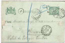 HOLANDA ENTERO POSTAL SCHEVENINGEN A BRUXELLES 1901 - Periode 1891-1948 (Wilhelmina)