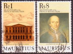 MAURITIUS 1989 SG #819-20 1R, 8R Part Set Used French Revolution - Mauritius (1968-...)