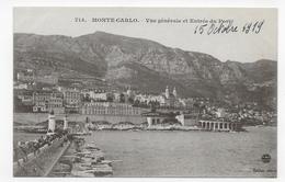 MONTE CARLO EN 1919 - N° 714 - VUE GENERALE ET ENTREE DU PORT - CPA NON VOYAGEE - Harbor