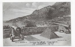 MONACO EN 1919 - N° 841 Bis - TERRASSE DU CHATEAU AVEC VIEUX CANONS - CPA NON VOYAGEE - Fürstenpalast
