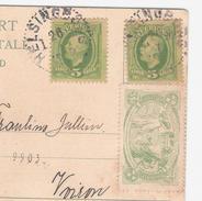 HELSINGBORG LA 11 AN DE JAN 1908   2 TIMBRES OBLITEREES + VIGNETTE  SUR CPA HELSINGBORG  MÄRNAN VOIR 2 SCANS