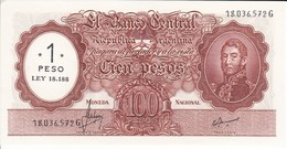 282 BILLETE DE ARGENTINA DE 100 PESOS MONEDA NACIONAL  AÑOS 1969 A 1971 RESELLO 1 PESO LEY 18.188 SIN CIRCULAR - UNC - Argentinië