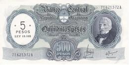 283 BILLETE DE ARGENTINA DE 500 PESOS MONEDA NACIONAL  AÑOS 1969 A 1971 RESELLO 5 PESOS LEY 18.188 CALIDAD EBC (XF) - Argentina