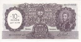 284 BILLETE DE ARGENTINA DE 1000 PESOS MONEDA NACIONAL  AÑOS 1969 A 1971 RESELLO 10 PESOS LEY 18.188 CALIDAD EBC (XF) - Argentina
