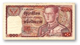 THAILAND - 100 Baht - ND ( 1978 ) - Pick 89 - Sign. 60 - Serie 3 J - King Rama IX - 2 Scans - Thailand