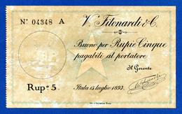 Italian Somaliland Rare 5 Rupias / Somalia Italiana 5 Rupie Filonardi 1893 R4 P1 XF~AU - Somalia