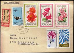 Germany DDR Werder 1966 / Parachutting / Flowers