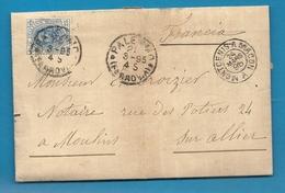 Italeie - Palerme Pour Moulins Sur Allier (France). LAC De 1895. AMBULANT DE MONCENIS A MACON - Italie