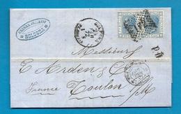Italie - Bologne Pour Toulon Sur Mer (Var). LAC De 1872. Cachet D'entrée Par L'ambulant Marseille - Postmark Collection (Covers)