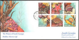2012 SOUTH GEORGIA FIRST DAY SHALLOW MARINE LIFE   + PAMPHLET - Stamps