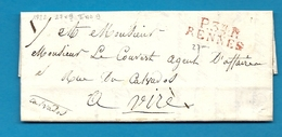 Ille Et Vilaine - Rennes Pour Vire (Calvados). MP P34P/RENNES Rouge. LAC De 1822 - Marcophilie (Lettres)