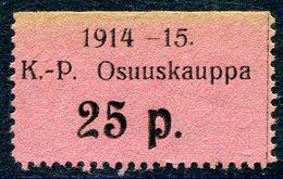 Russia Finland WW1 Ostrobothnia Cooperative Emergency Currency Money-stamp Revenue 25 Penni Type 2 Wertmarke Notgeld WWI - Finland