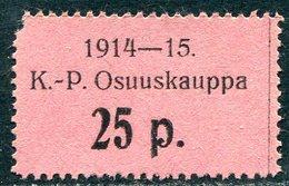 Russia Finland WW1 Ostrobothnia Cooperative Emergency Currency Money-stamp Revenue 25 Penni Type 3 Wertmarke Notgeld WWI - Finland