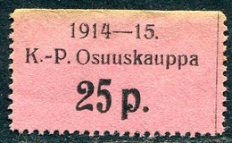 Russia Finland WW1 Ostrobothnia Cooperative Emergency Currency Money-stamp Revenue 25 Penni Type 4 Wertmarke Notgeld WWI - Finland