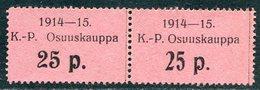 Russia Finland WW1 Ostrobothnia Cooperative Emergency Currency Money-stamp Revenue 25 Penni Types 2+3 Wertmarke Notgeld - Finland