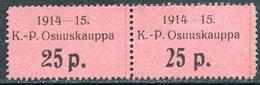 Russia Finland WW1 Ostrobothnia Cooperative Emergency Currency Money-stamp Revenue 25 Penni Types 4+3 Wertmarke Notgeld - Finland