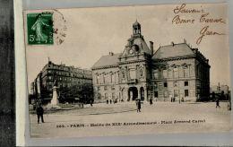 CPA PARIS  Mairie Du XIXe Arrondissement  Place Armand Carrel   Animé   JAN 2017 Div 089 - Arrondissement: 19