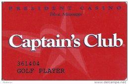 President Casino Biloxi, MS - Captain´s Club Slot Card - Golf Player Printing - Casino Cards