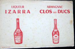 BUVARD  ALCOOL LIQUEUR IZZARA  PAYS BASQUE  ARMAGNAC CLOS DES DUCS       BON ETAT - Liqueur & Bière