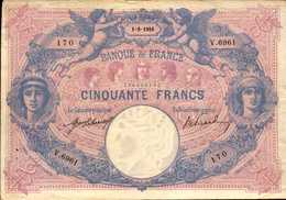 FRANCE 50 FRANCS Du 1-8-1916 Bleu Et Rose  Pick 64e F 14/29 - 1871-1952 Antichi Franchi Circolanti Nel XX Secolo