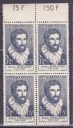N° 1067 Célèbrités Du XV Au XX Siècles: Jean Gaujon: Bloc De 4  Timbres Neuf Sans Charnière Impeccable - Unused Stamps