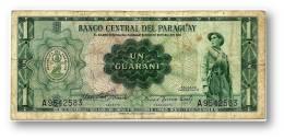 PARAGUAY - 1 GUARANI - L. 1952 - Pick 193.a - See Sign. - Soldado Paraguayo - 2 Scans - Paraguay