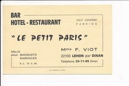 Carte Publicitaire Du Bar Hôtel Restaurant Le Petit Paris 22100 LEHON Par Dinan ( Viot )  ( Recto Verso ) - Visiting Cards
