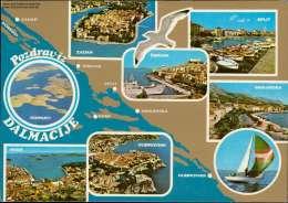 Pozdraviz Dalmacije Ornati Dubrovnik, Verschiedene Ansichten Mehrbildkarte - Jugoslawien