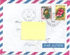 2 Stamps TAHITI On An Envelope 1963 - Tahiti