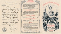 Dépliant Publicitaire En 3 Volets De M Lening à ANDERNOS LES BAINS  Huîtres Foie Gras Prunes D' Ente Armagnac Vins Tarif - Advertising